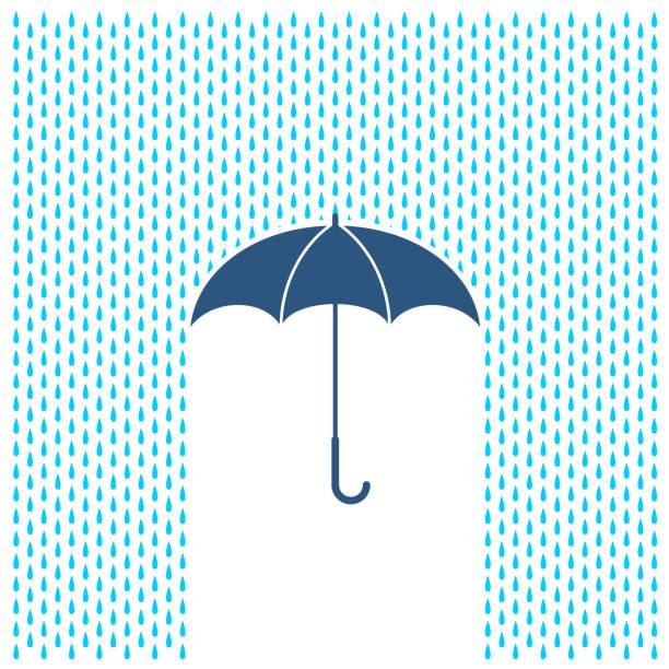 illustrations, cliparts, dessins animés et icônes de parapluie avec illustration de la pluie. gouttes d'eau de pluie et de la protection du parapluie. - pluie