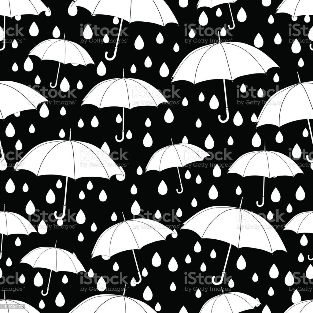 şemsiye Seamless Modeli Boyama Kitabı Tek Renkli Resimde Vektör Arka