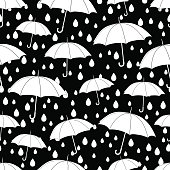 Umbrellas seamless pattern, coloring book, monochrome illustration, vector background. White umbrellas and raindrops on a black background. For wallpaper design, wrappers, fabrics