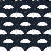 Umbrellas seamless pattern, vector background. White umbrellas and raindrops on a dark blue background. For wallpaper design, wrappers, fabrics