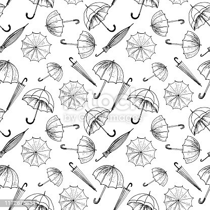 Umbrellas seamless sketch pattern. Black hand drawn umbrellas without background. Wallpaper pattern, doodle of umbrellas. Vector backdrop