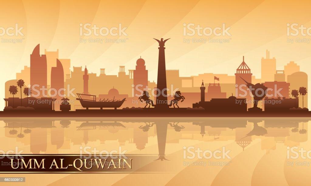 Umm al-Qaiwain skyline van de stad silhouet achtergrond royalty free umm alqaiwain skyline van de stad silhouet achtergrond stockvectorkunst en meer beelden van achtergrond - thema