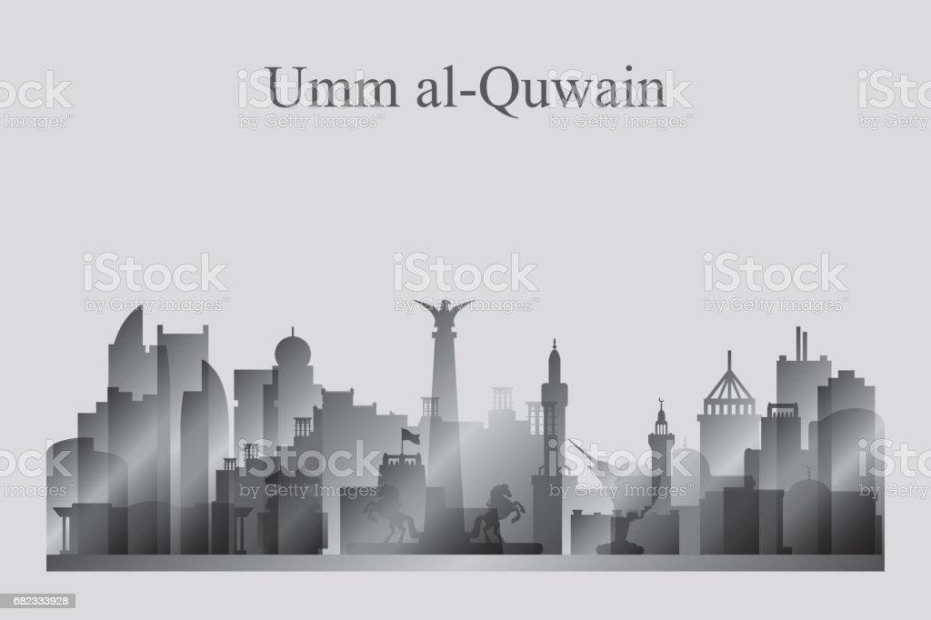 Umm al-Quwain city skyline silhouette in grayscale umm alquwain city skyline silhouette in grayscale - stockowe grafiki wektorowe i więcej obrazów architektura royalty-free