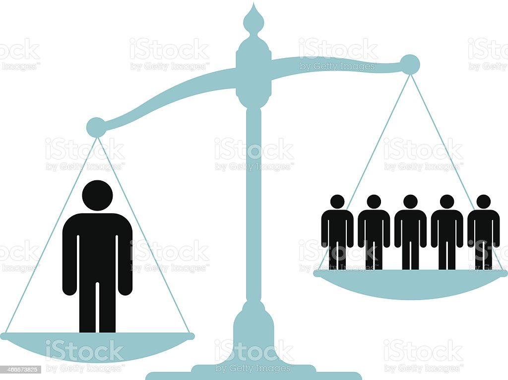 Unbalanced scale with a single man and a group vector art illustration
