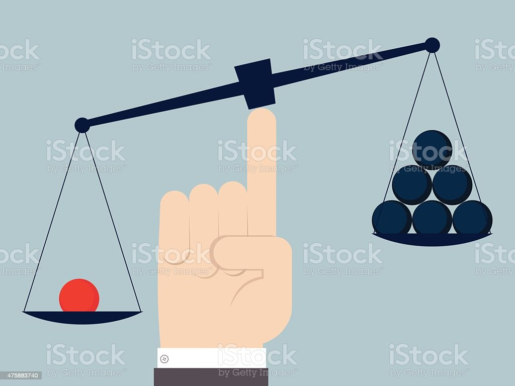 Unbalanced scale with red sphere and group of blue spheres vector art illustration