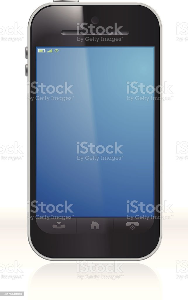 Unbranded smartphone on a white background Vector illustration of a generic smart phone. Black Color stock vector