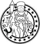 Uncle Sam 4th of July B&W