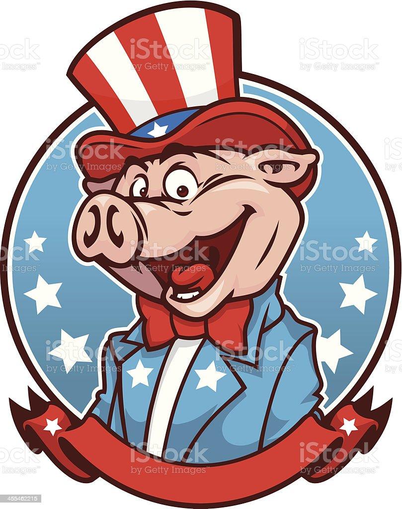 Uncle Sam BBQ Pig royalty-free stock vector art