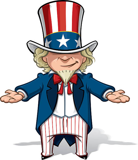 uncle sam debating - family 4th of july stock illustrations