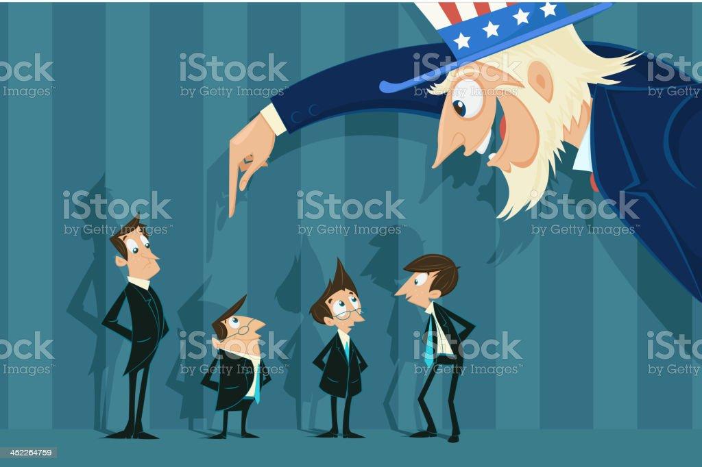 Uncle Sam doing job recruitment royalty-free stock vector art