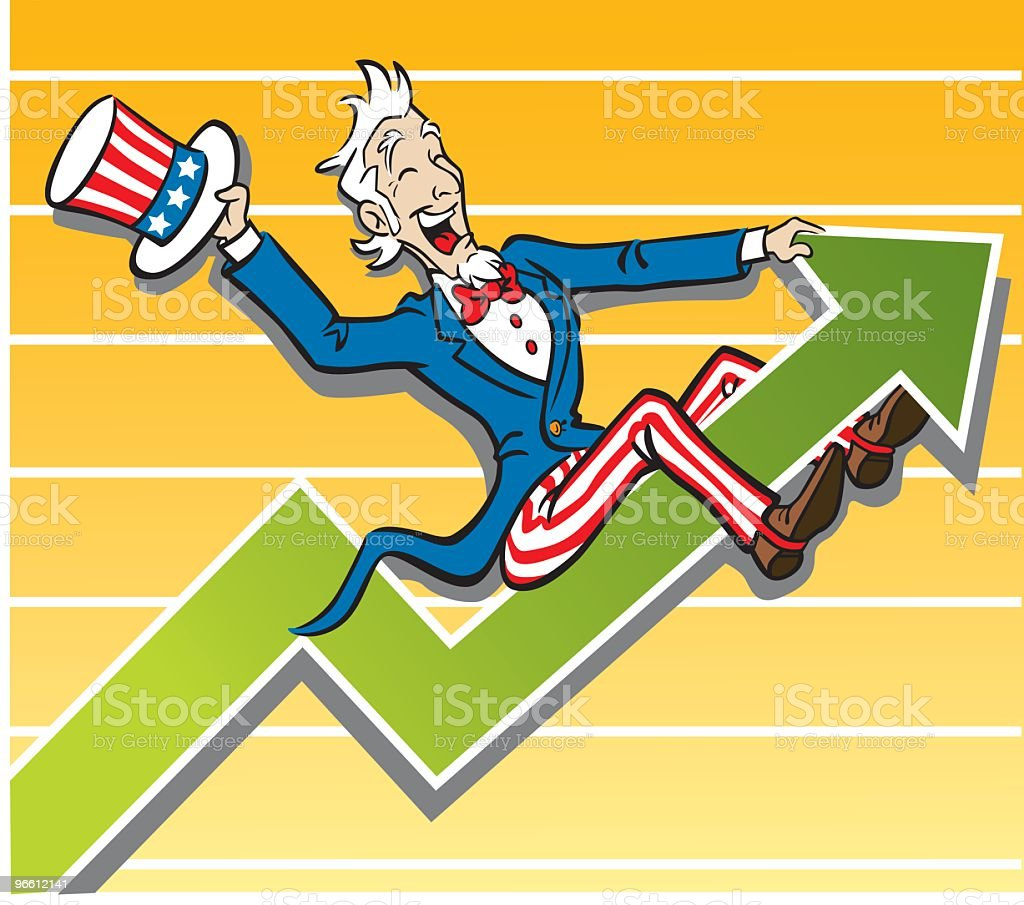 Uncle Sam Economy Up Turn - Royalty-free Alleen mannen vectorkunst