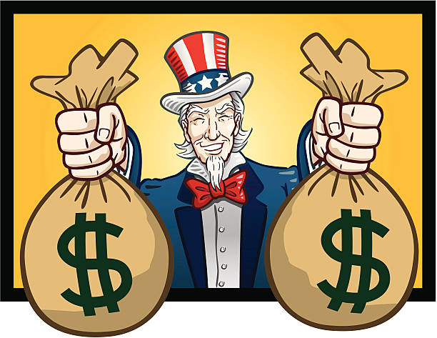 Uncle Sam Giving Cash Great illustration of a classic Uncle Sam giving out bags of cash. Perfect for a political or business illustration. EPS and JPEG files included. Be sure to view my other business illustrations, thanks! uncle sam stock illustrations