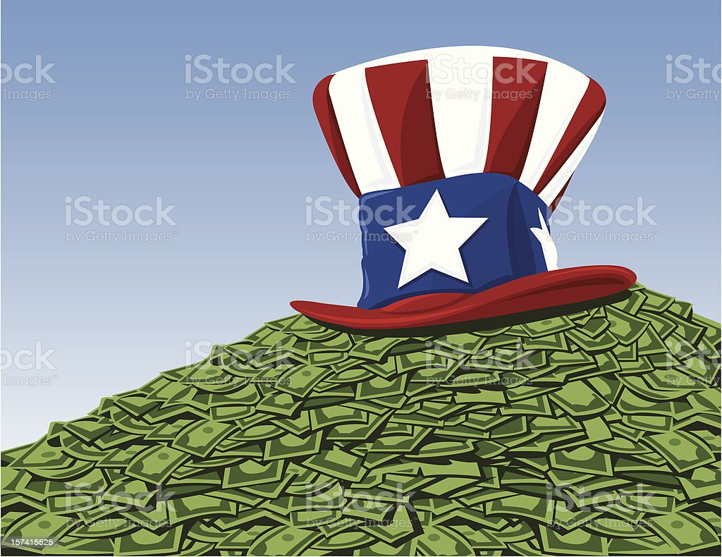 Uncle Sam has your tax and bailout money vector art illustration