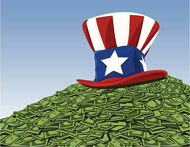 Uncle Sam has your tax and bailout money A stack of money with an uncle sam hat sitting on top. Suitable for a taxes or bailout concept. bailout stock illustrations