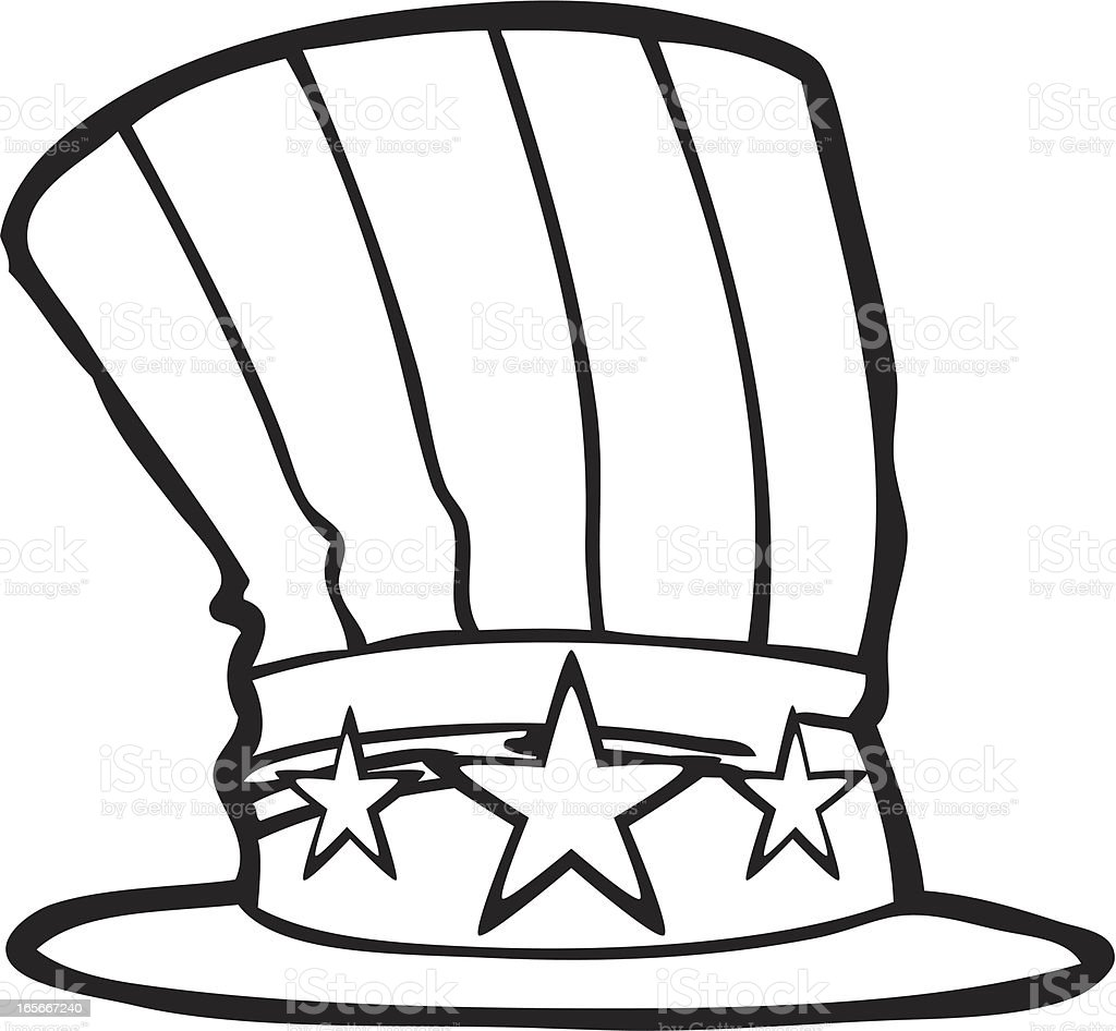 uncle sam hat line art royalty free stock vector art - Uncle Sam Hat Coloring Page