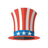 Uncle Sam hat on white background. Cylinder Uncle Sam USA
