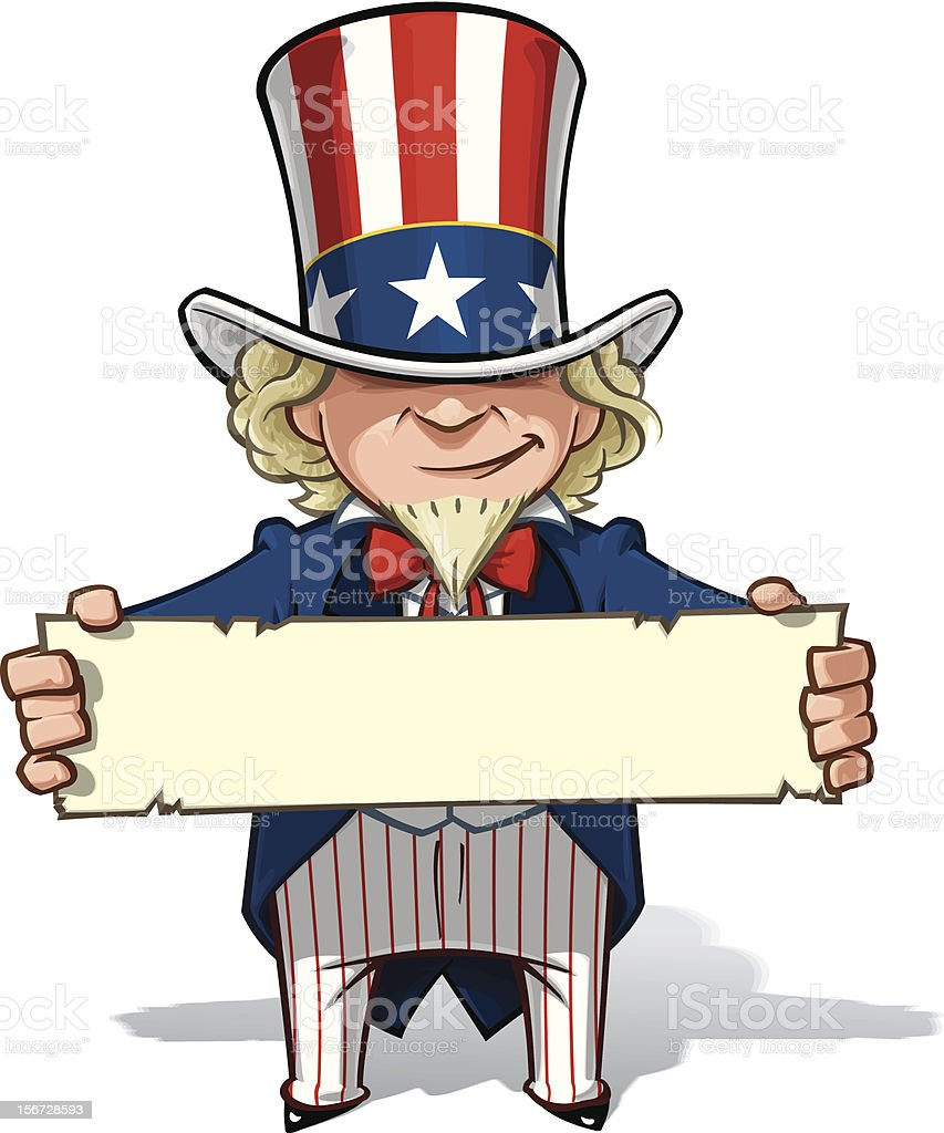 Uncle Sam Holding a Sign Clean-cut, overview cartoon illustration of Uncle Sam holding a sign. American Culture stock vector