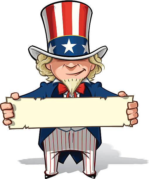 uncle sam holding a sign - family 4th of july 幅插畫檔、美工圖案、卡通及圖標