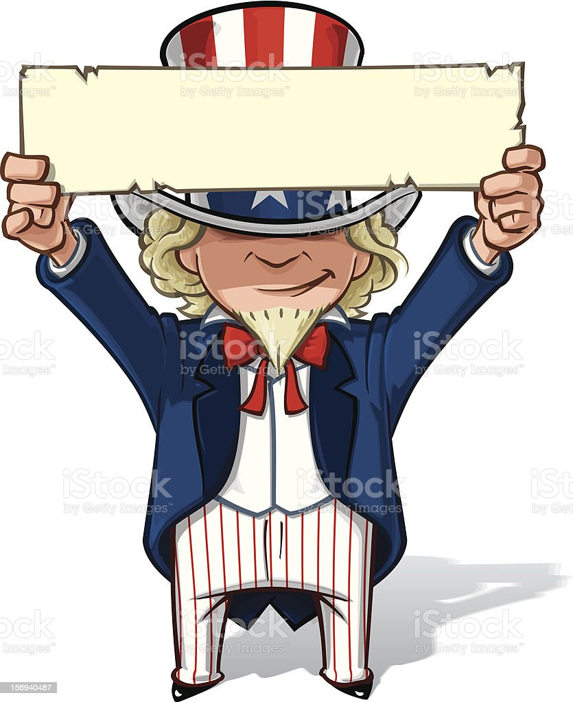 Uncle Sam Holding Up a Sign Clean-cut, overview cartoon illustration of Uncle Sam holding a sign up. Above stock vector