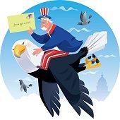 vector illustration of  uncle sam holding envelop and riding flying bald eagle…