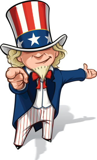 Uncle Sam I Want You Presenting Stock Illustration - Download Image Now