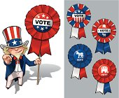 "Vector Cartoon Illustration of Uncle Sam holding a Vote ribbon - banner - badge and pointing ""I want you"" like the classic WWI poster. All options are in-place neatly in well described groups and layers."