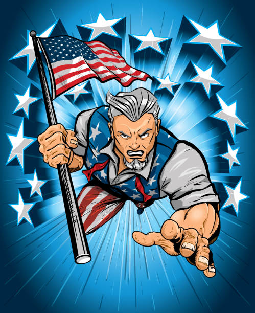 Uncle Sam Leaping Forward with American Flag vector art illustration