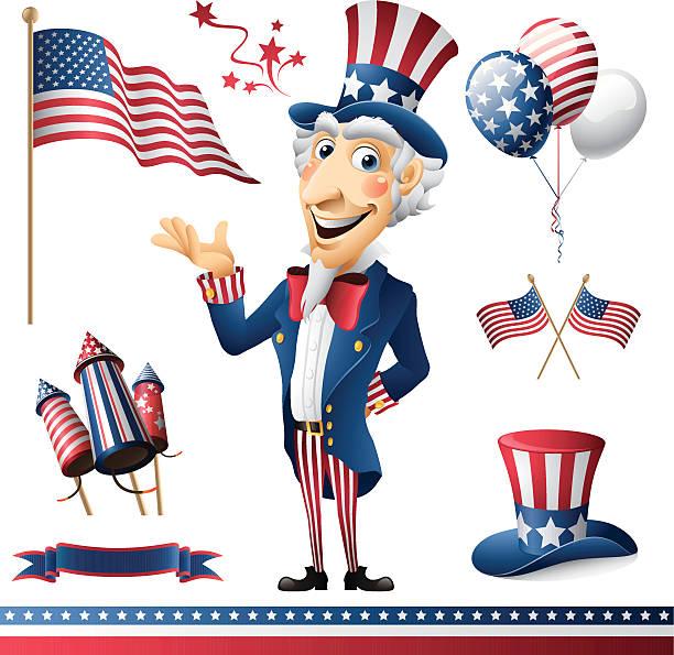 Uncle Sam - patriotic set - uncle sam with patriotic design elements uncle sam stock illustrations