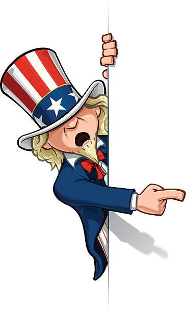 uncle sam 가리키는 a 배너입니다 - family 4th of july stock illustrations
