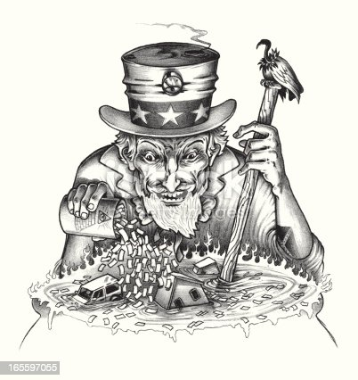 istock Uncle Sam Pouring Money into Pot with Housing and Automobiles 165597055