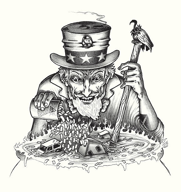 uncle sam pouring money into pot with housing and automobiles - evil money stock illustrations, clip art, cartoons, & icons