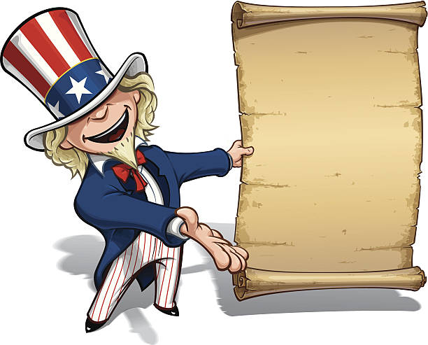 Uncle Sam Presenting Declaration Vector Cartoon Illustration of Uncle Sam presenting a declaration-like papyrus. EPS 10 with 16+ Mpxl Q12 JPEG preview. declaration of independence stock illustrations