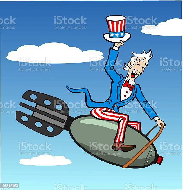 Uncle Sam Riding Bomb-vektorgrafik och fler bilder på Amerikanska flaggan