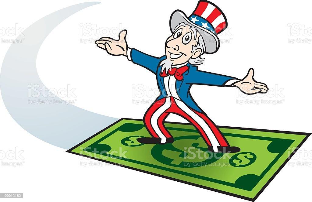 Uncle Sam Riding on Dollar - Royaltyfri Amerikansk kultur vektorgrafik