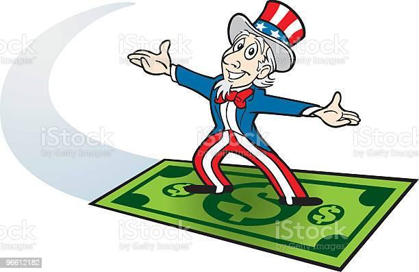 Uncle Sam Riding On Dollar-vektorgrafik och fler bilder på Amerikansk kultur