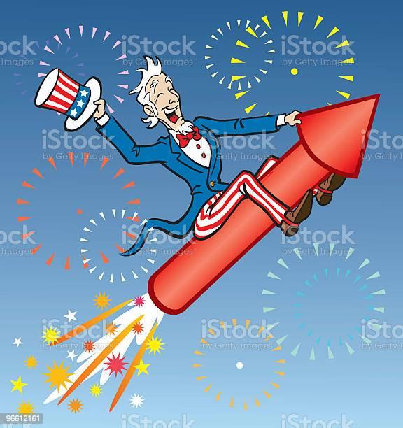 Uncle Sam Riding Rocket-vektorgrafik och fler bilder på Blå