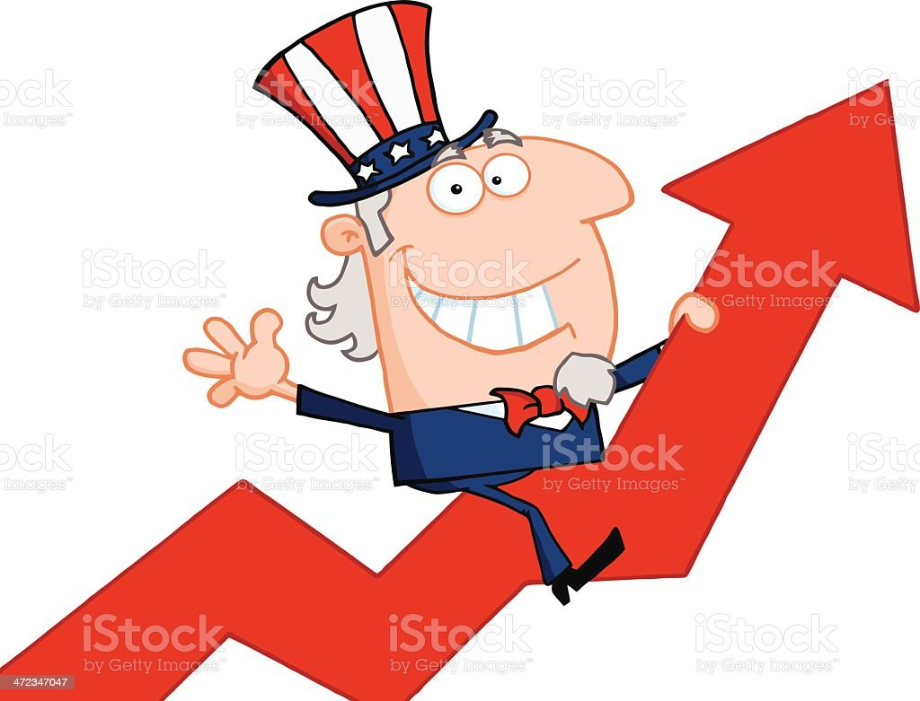 Uncle Sam Riding Up On A Statistics Arrow royalty-free stock vector art