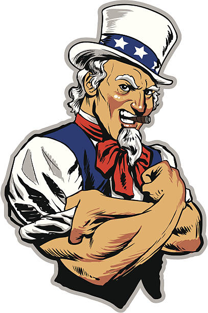 Uncle Sam Rolling Up Sleeves Uncle Sam looking man, rolling up his sleeves and smoking a cigar. uncle sam stock illustrations
