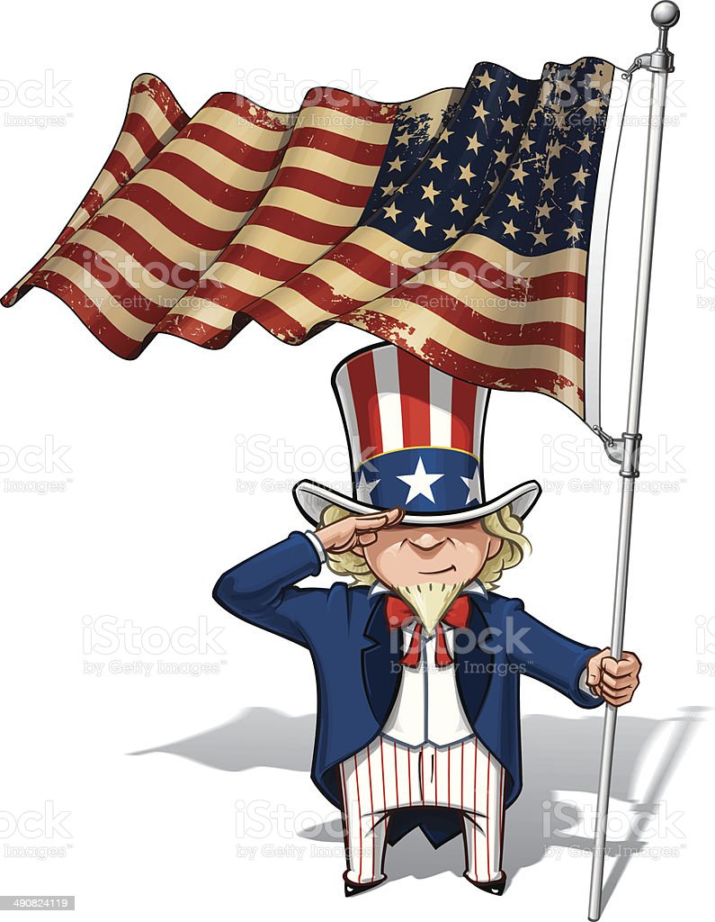 Uncle Sam Saluting the US WWI-WWII (48 star) Flag vector art illustration