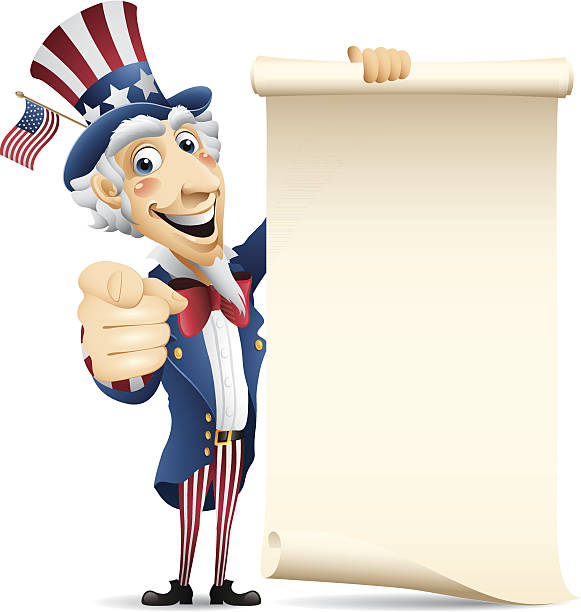 Uncle Sam - scroll - uncle sam holding paper scroll uncle sam stock illustrations