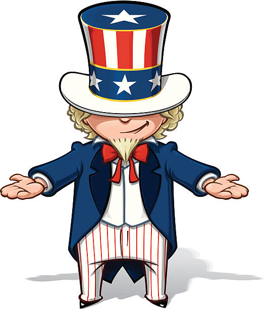 uncle sam 표시중 - family 4th of july stock illustrations