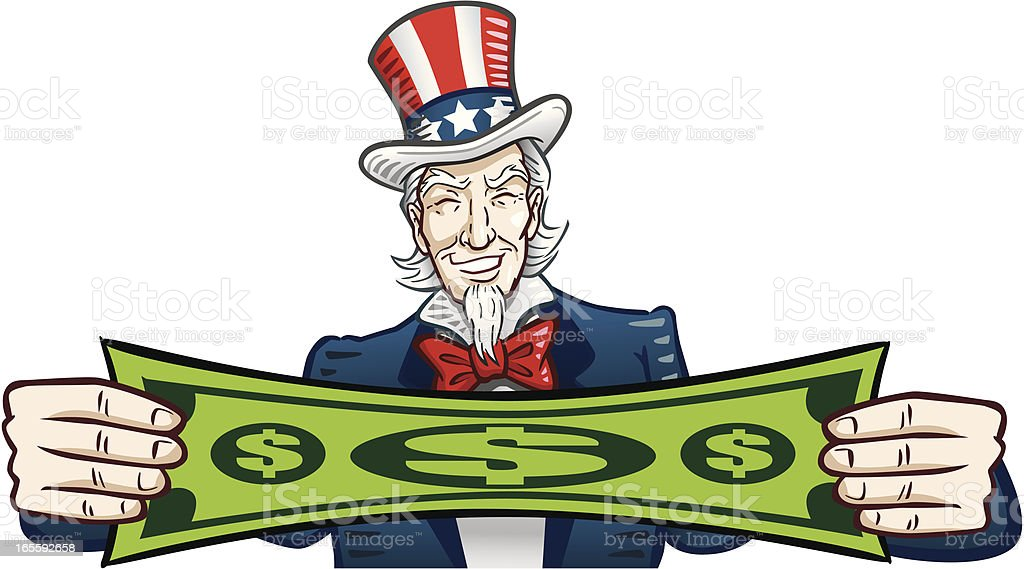 Uncle Sam Stretching Dollar royalty-free stock vector art
