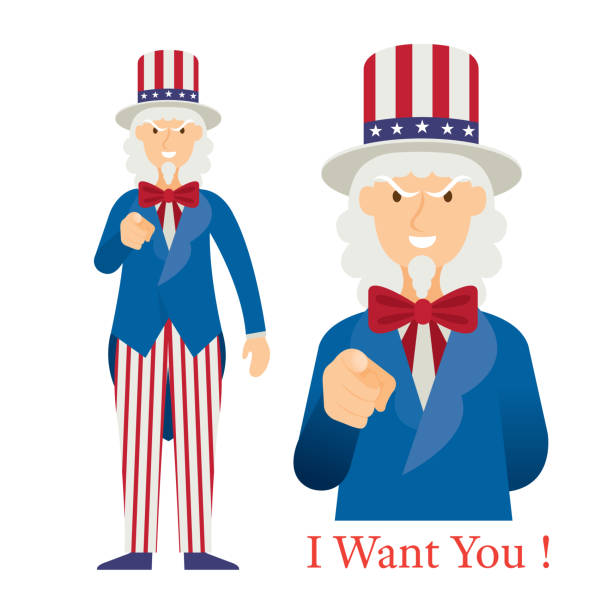 Uncle Sam Want You with Hand Pointing, Cartoon Character uncle sam stock illustrations