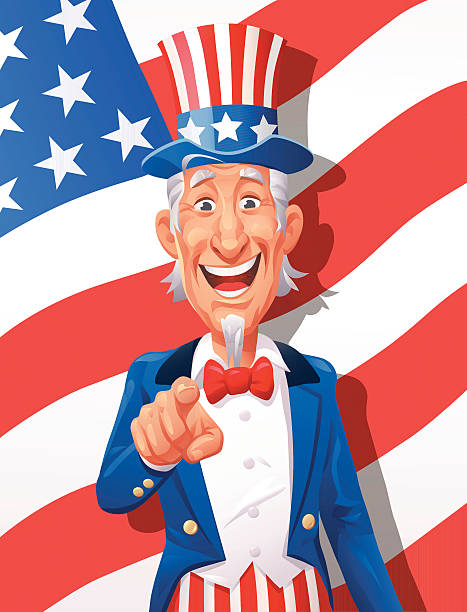 Uncle Sam Wants YOU Illustration of a cheerful Uncle Sam pointing against a USA flag. EPS 10, all elements grouped and labeled in layers. uncle sam stock illustrations