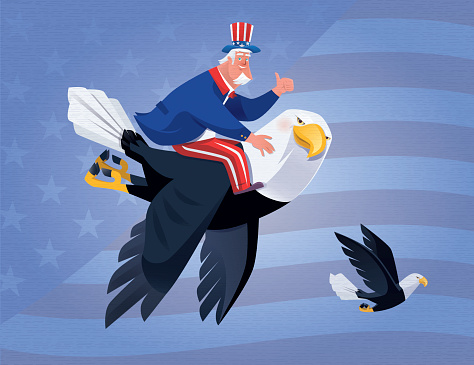 uncle sam with bald eagle giving thumbs up