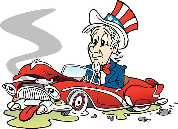 Uncle Sam With Broken Car vector art illustration