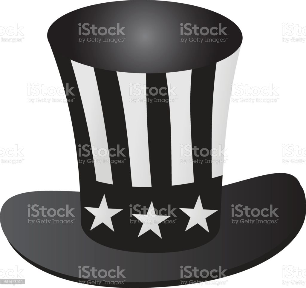 Uncle Sam's hat 4th July celebration grayscale icon - Векторная графика You're hired - английское выражение роялти-фри