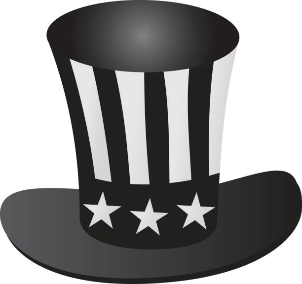 uncle sam's hat 4th july celebration grayscale icon - family 4th of july stock illustrations