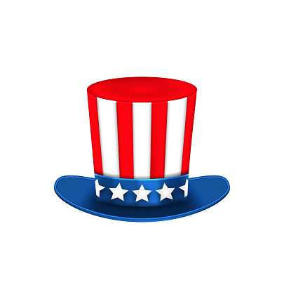 Uncle Sam's Hat for American Holidays, Isolated on White