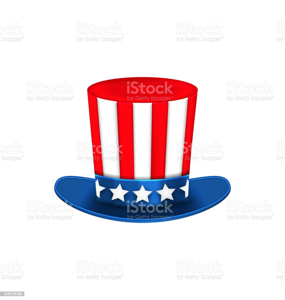 Uncle Sam's Hat for American Holidays, Isolated on White vector art illustration